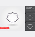 broccoli line icon with editable stroke vector image vector image