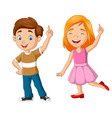 cartoon boy and girl showing number one vector image vector image