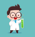 cartoon scientist with test tube and science vector image
