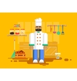 chef in uniform kitchen utensils furniture vector image vector image