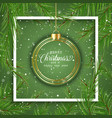 christmas background with hanging bauble vector image vector image