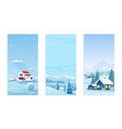 christmas nature winter landscape set with village vector image vector image