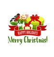 christmas tree and gift icon xmas holiday design vector image vector image