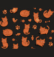 cute cartoon cat seamless pattern on dark vector image
