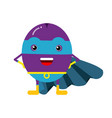 cute cartoon plum superhero in mask and blue cape vector image vector image