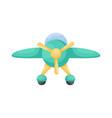 cute green airplane on white background cartoon