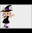 cute naughty baby girl in witch dress costume vector image