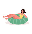 cute woman relaxes in an inflatable rubber ring vector image vector image