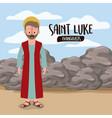 evangelist saint luke in scene in desert next vector image vector image