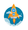 flat orange rocket ship launched to the space vector image vector image