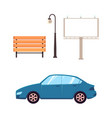 flat street objects - car bench light billboard vector image vector image