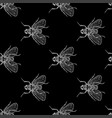 fly grey on black seamless pattern vector image vector image