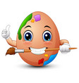 funny brown easter egg painter gives a thumbs up w vector image vector image