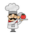 funny chef with tomato avatar character vector image vector image