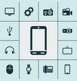 gadget icons set with radio headphone mouse and vector image