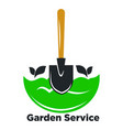 garden service promotional logotype with spade and vector image