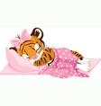 girl tiger sleeping vector image