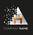 golden letter h logo in silver pixel triangle vector image vector image