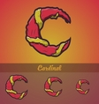Halloween decorative alphabet - C letter vector image vector image