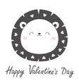 happy valentines day lion face head sketch line vector image