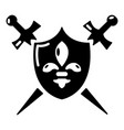 heraldic shield and swords icon simple style vector image vector image