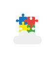 icon concept of four connected jigsaw puzzle vector image vector image