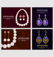 jewellery banner concept set realistic style vector image