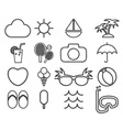 Line icons collection of traveling tourism and vector image