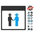 Men Handshake Calendar Page Icon With Bonus vector image vector image