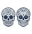 mexican skulls with patterns vector image vector image