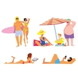 people on beach isolated set vector image vector image