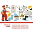 pipeline repair plumber service and plumbing vector image