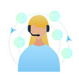 portrait woman worker call center vector image