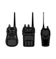 radio transceivers set of black flat vector image