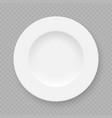 realistic white plate dish vector image vector image
