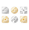 rfid tags golden silver radio chips icons vector image vector image