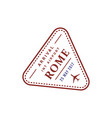 rome airport stamp isolated vector image vector image