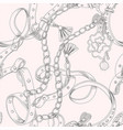 seamless pattern with belt and chain vector image vector image
