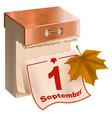 september 1 began fall tear-off calendar and vector image vector image