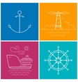 Set of Colorful Maritime Icons vector image vector image