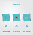 set of crime icons flat style symbols with suspect vector image vector image
