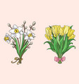 set of hand drawn spring bouquets vector image vector image