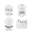 set of monochrome circus and mardi gras vector image vector image