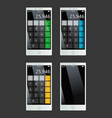 set of smartphones with calculator empty display vector image