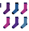 set socks with space pattern with stars vector image vector image