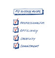 success recipe list of requirements to achieve vector image