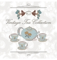 Tea set in vintage style vector image vector image