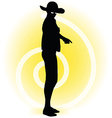Tourist woman silhouette with handbag and vector image