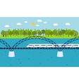 Train on railway bridge Forest and lake on vector image
