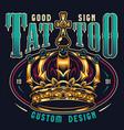 vintage tattoo studio colorful print vector image vector image